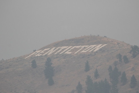 Penticton Sign Lost in the Smoke